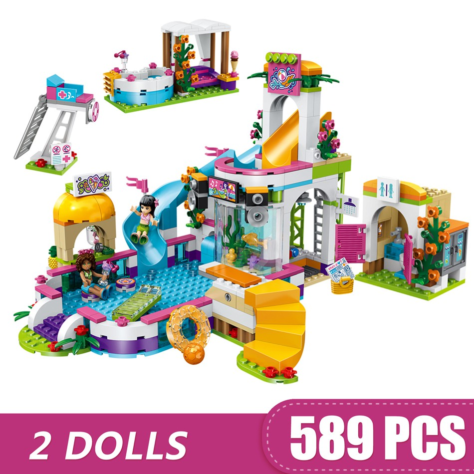 Friends 41313 The Heartlake Building Blocks Pool Figure Toys For Children 589PCS