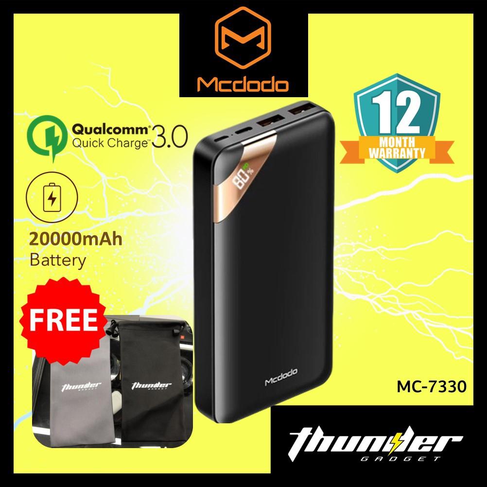 Mcdodo PowerBank 20000mAh Fast ChargeMC7330 18W PD Digital Display PD 3.0 QC 3.0 2 Way Fast Charging