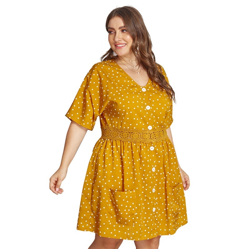 WP^Women\'s Dress Summer Dress House Dress Polka Dot High Waist Plus Size  Dress V-Neck Party Loose Dress XL-4XL*