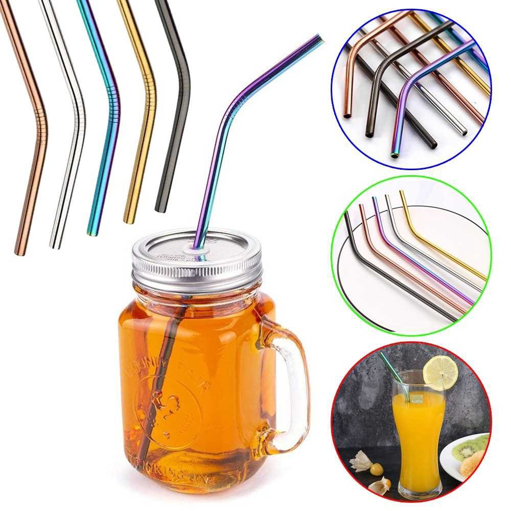 Useful Reusable 304 Stainless Steel Straw Milk Tea Straws with Brush Party Drinking Accessories (3pcs)
