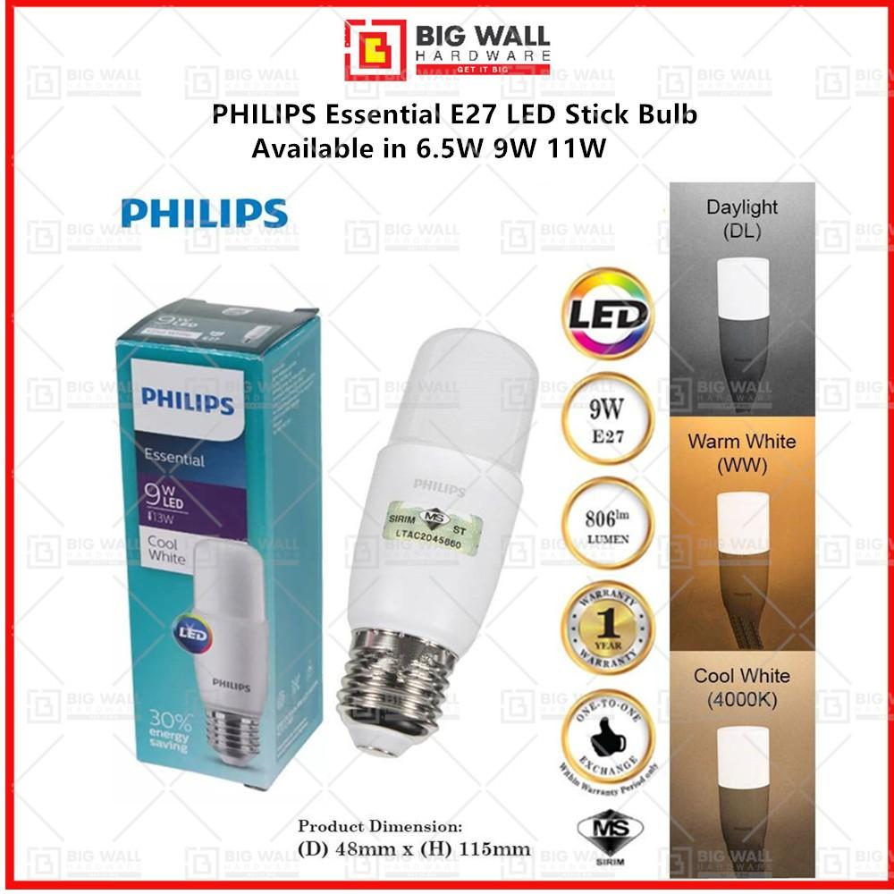 PHILIPS New ESS DL Stick Essential 6.5W 9W 11W E27 LED Stick Bulb Philips LED Bulb Big Wall Hardware