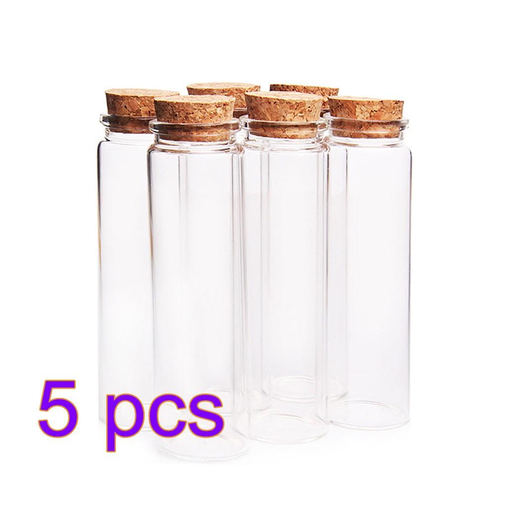 772ba826bf8c 5pcs Glass Bottle Wishing Floating Bottle Empty Storage Jars - Transparent