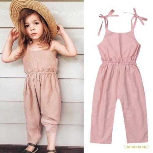 Children Kids Baby Girl Princess Casual Strap Denim Overalls Romper Jumpsuit Set