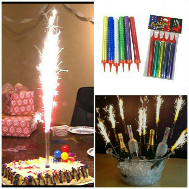 12CM 6pcs Firework Birthday Cake Sparklers Candles Smokeless Party Candle