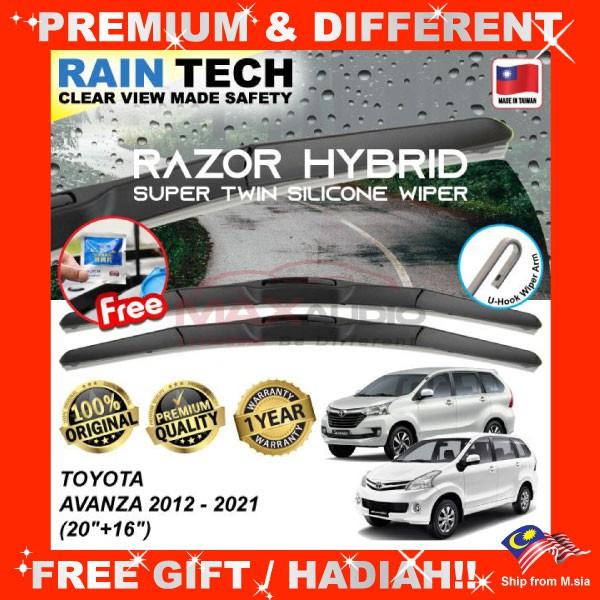 [FREE Gift] TOYOTA AVANZA 2012 - 2021 (20/16) RAIN-TECH RAZOR HYBRID Silicone Aerodynamic Clean Wipe Safety Wiper Blade