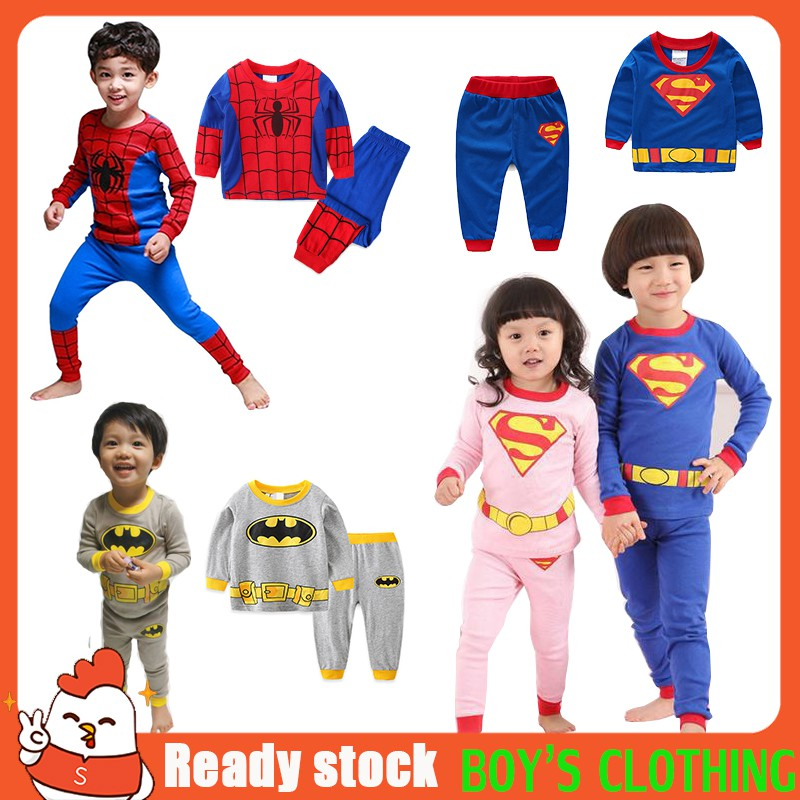 Kids Boys Girls Superman Batman Outfit Set Superhero Long Sleeve Casual Pajamas