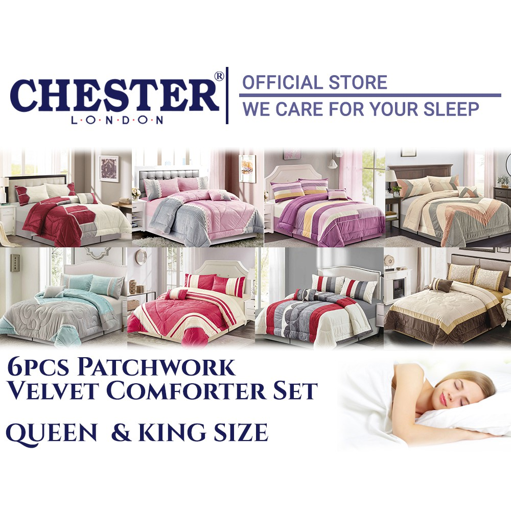 Chester London 6pcs Patchwork Velvet Queen & King Size Pillow Bolster Cushion Bed Sheet Luxurious Comforter Set