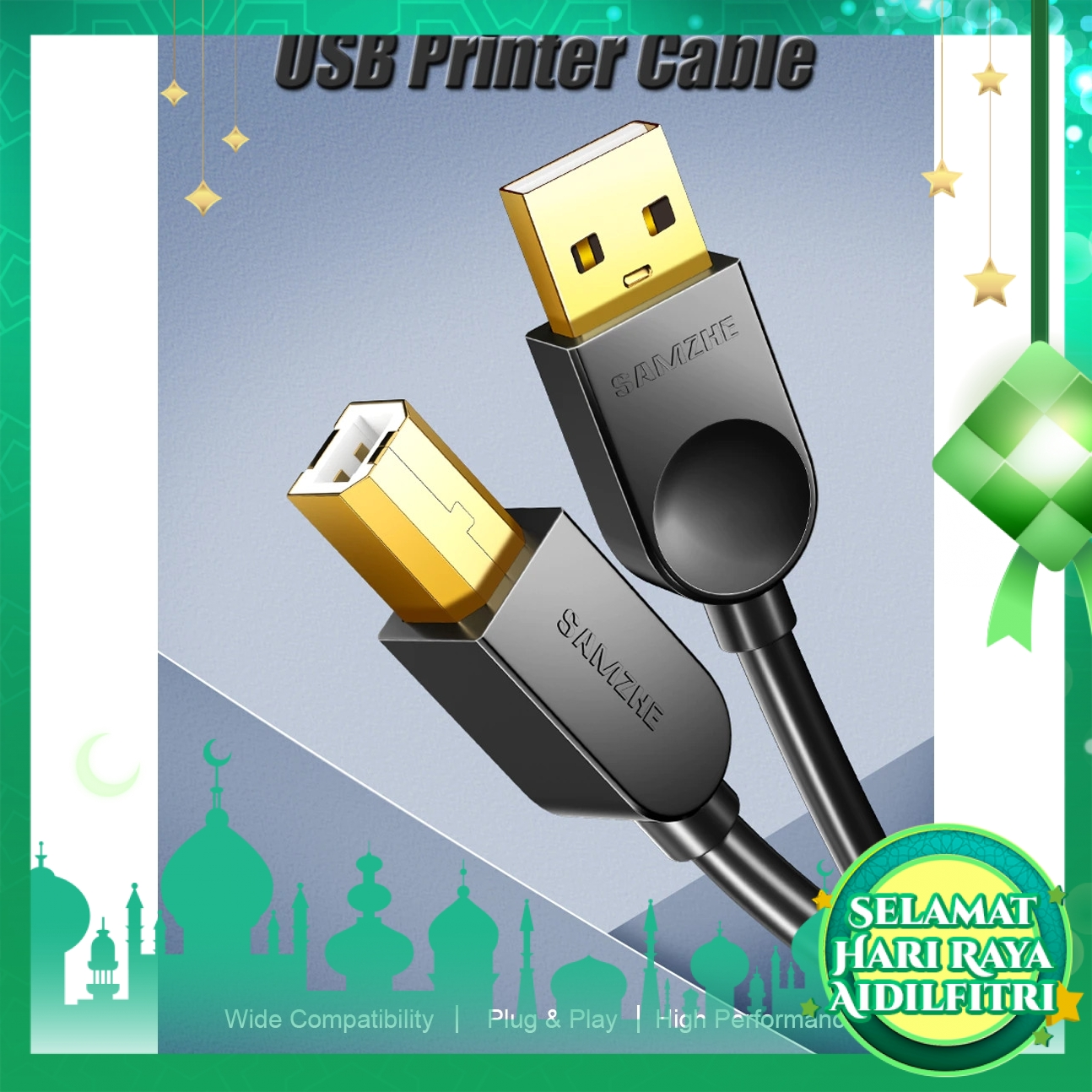 SAMZHE BA-750 Print Cable USB 2.0 Type A Male To B Male Sync Data Scanner Cable for HP Canon Epson Printer 5M