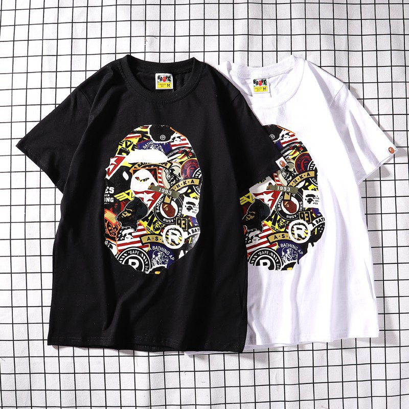 Canal autor Confesión  BATHING APE Bape Ape monkey Fashion Leisure Cartoon Art Harbor wind  Printing O-Neck T-shirts Men Women Short Sleeve20 | Shopee Malaysia