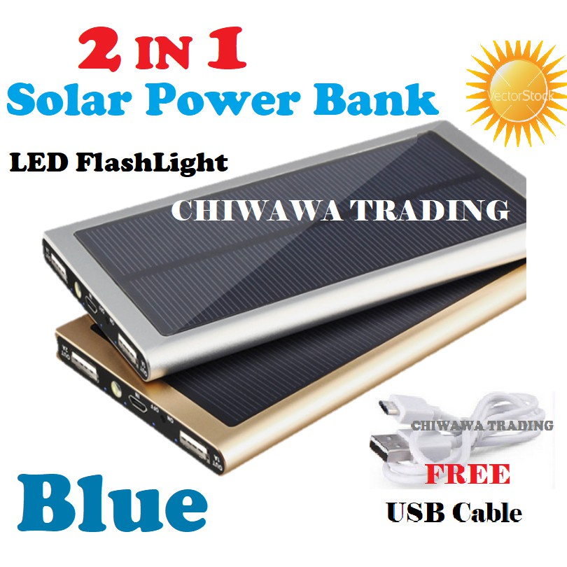 TIAN【Free Gift : USB Cable】2 IN 1 30000mAh Solar Power Bank Battery + LED Light