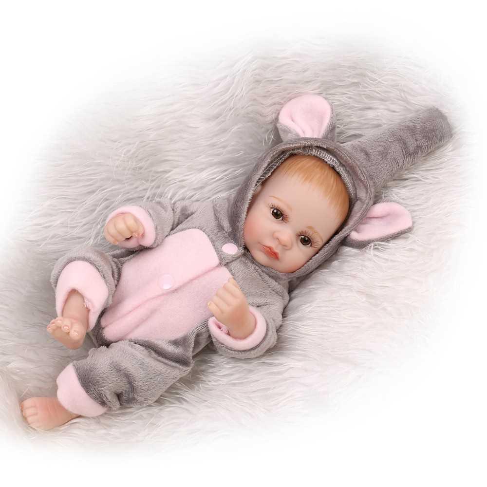 "11/""Reborn Newborn Mini Baby Doll Full Soft Silicone Vinyl Purple Dress Bath Girl"