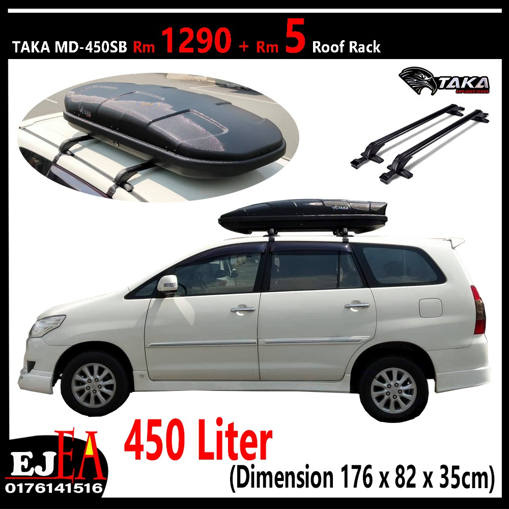 Taka Roofbox MD-450SB Slim Glossy Roof box With Roof Rack ...