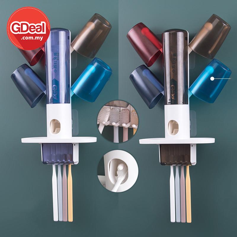 GDeal Wall Hanging Family Toothbrush Rack Cup Holder With Toothpaste Dispenser Penyangkut Berus Gigi