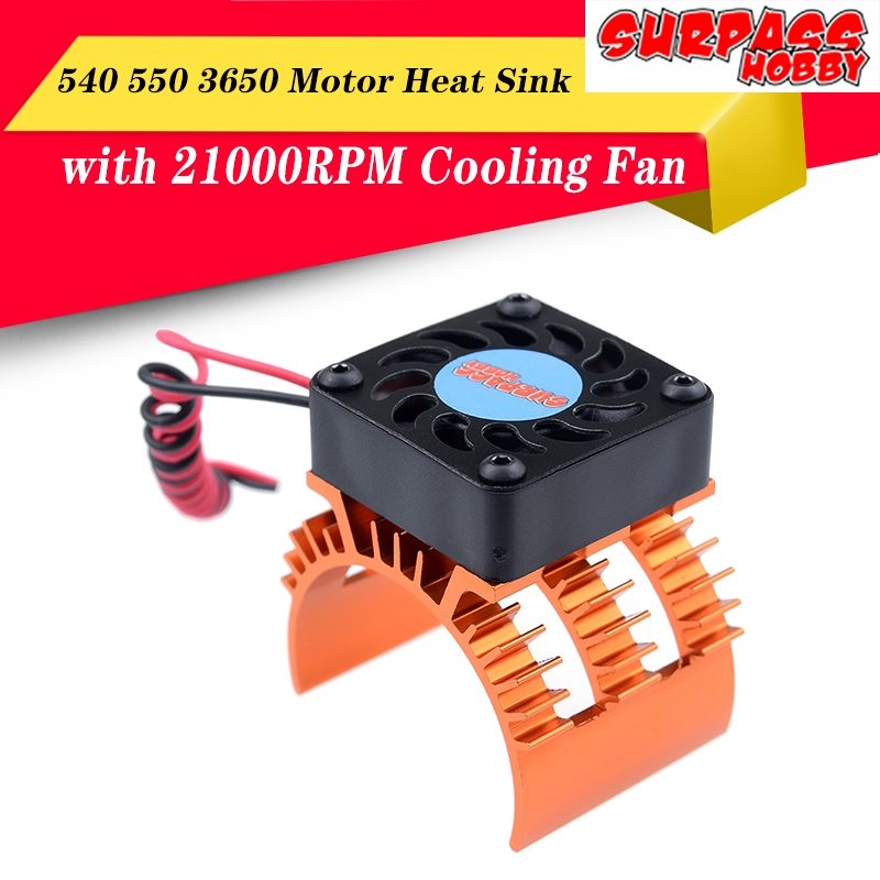 550 540 Brushed Brushless Motor Heatsink with Cooling Fans for 1//10 RC Cars