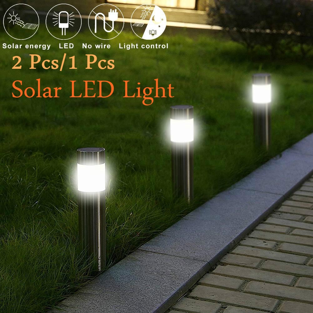4//8 OUTDOOR LED SOLAR POWER LIGHTS STAINLESS STEEL CYLINDER PATH DRIVEWAY GARDEN