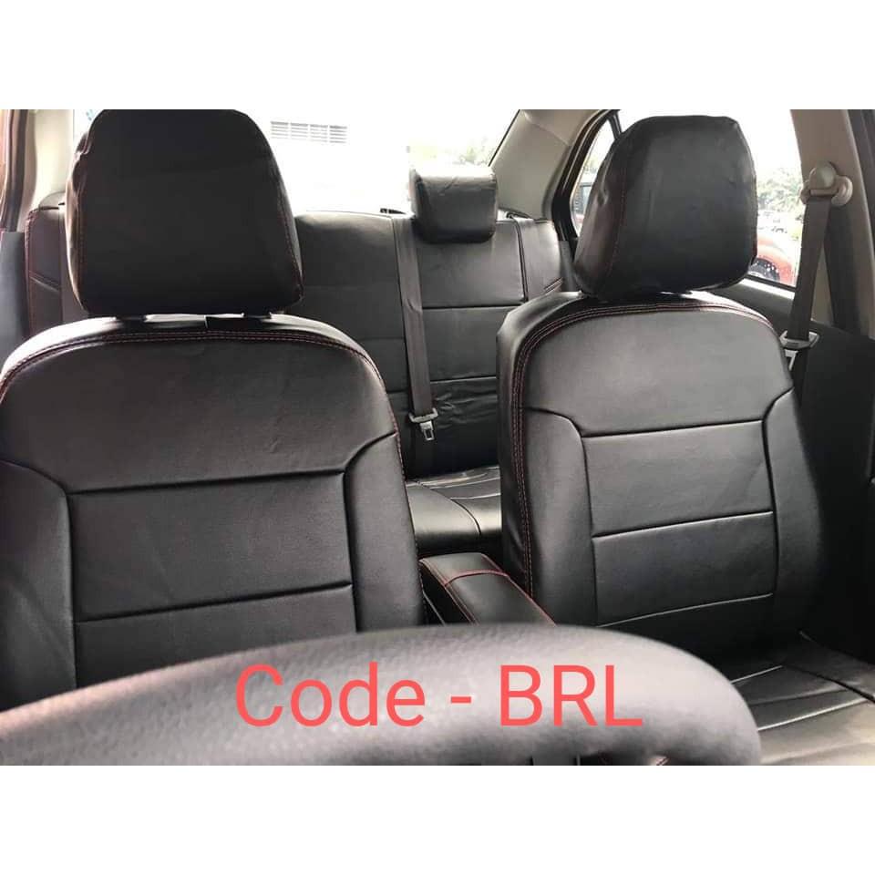 Solid Black Deluxe Syn Leather Full Car Seat Covers Set OEM Waterproof SUV Bu