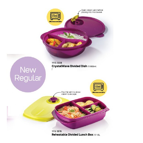 Tupperware Reheatable Divided Lunch Box 1.0L /Crystalwave Divided 900ml (New color Aug 2020)