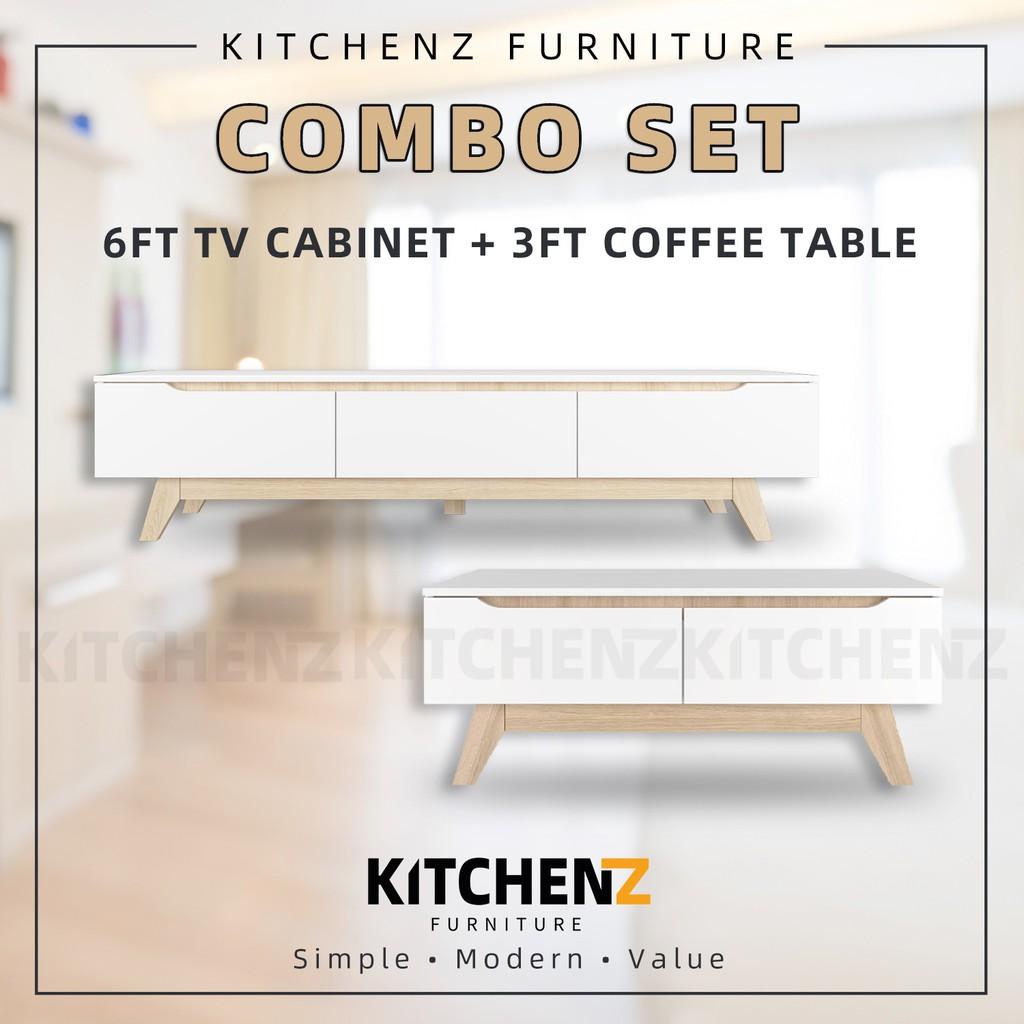 [COMBO] KitchenZ Simona 6Ft Tv Cabinet + Simona 3.5FT Coffee Table Solid Board