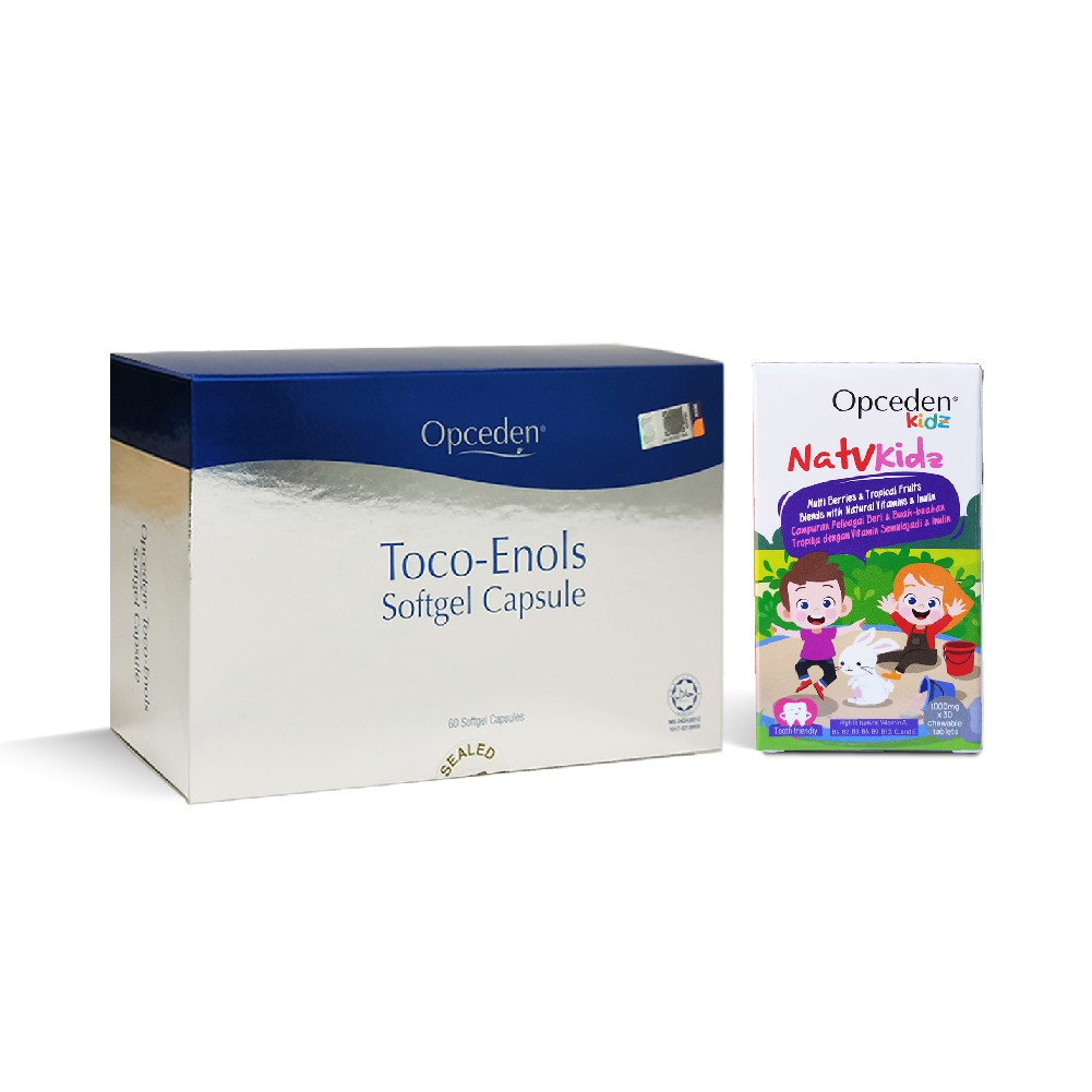 (Value Set) 1 Box of Opceden Toco-Enols with 60 Softgels + 1 Box of Opceden Natvkidz Multivitamin with 30 Chewy Tablets