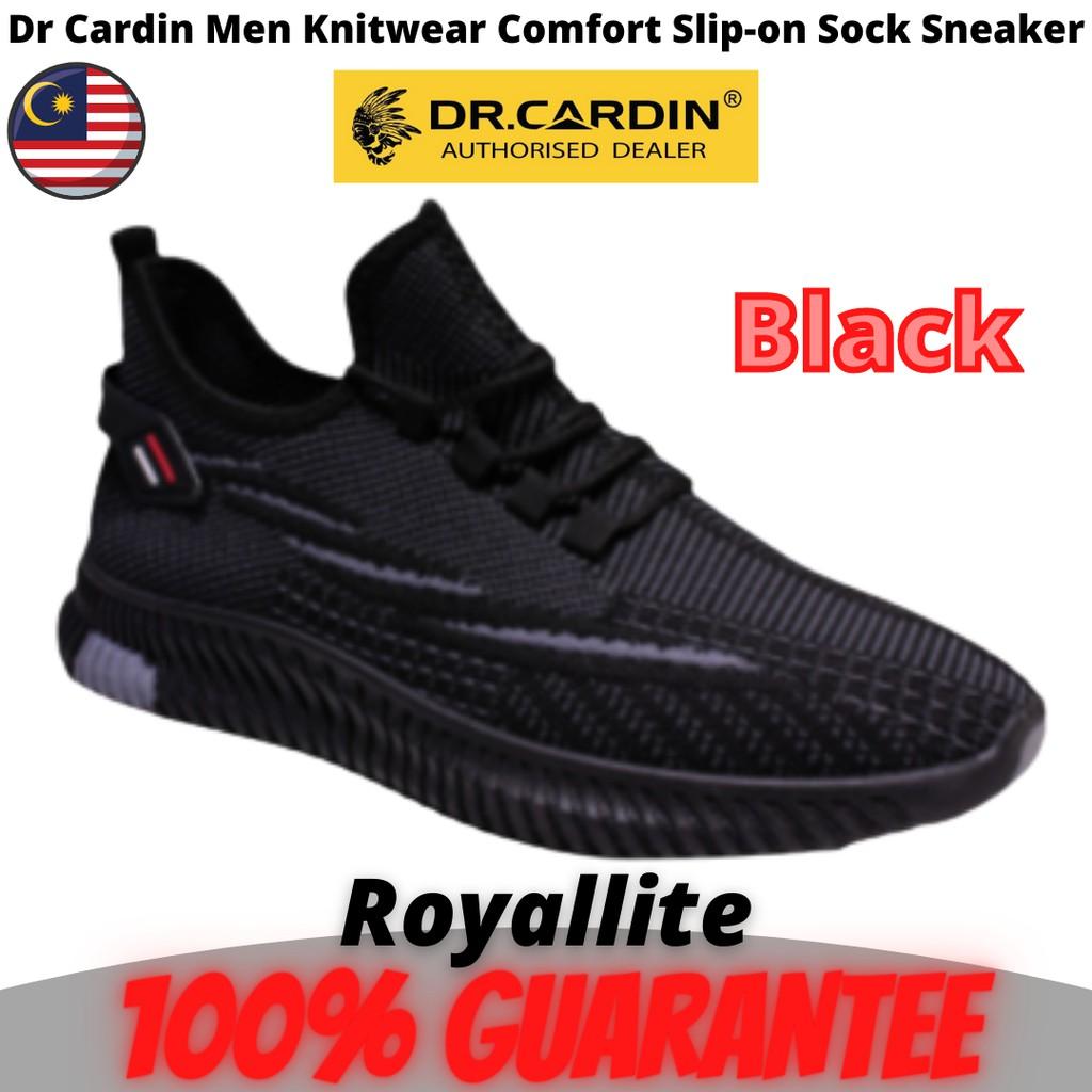 Dr Cardin Men Knitwear Comfort Slip-on Sock Sneaker (F-SA-8) Black & Grey