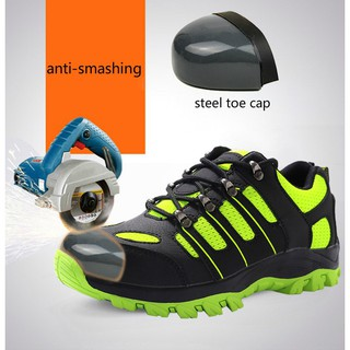 b0c3f860fcd Men Mesh Steel Toe Covers Work Safety Shoes Non-slip Platform Anti ...