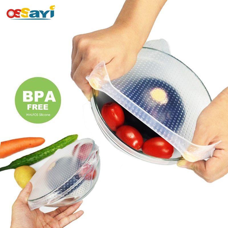 4pcs Silicone Wraps Seal Cover Food Storage Stretch Lids Fresh Kitchen Gadget