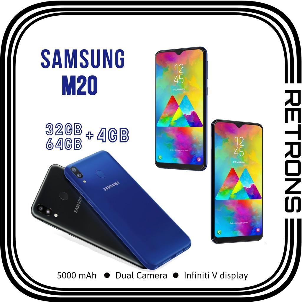 [CNY 2021] Original Samsung M20 M205 32GB   64GB + 4GB RAM 4G LTE Dual Sim Android 9.0 Pie [Refurbished Like New]