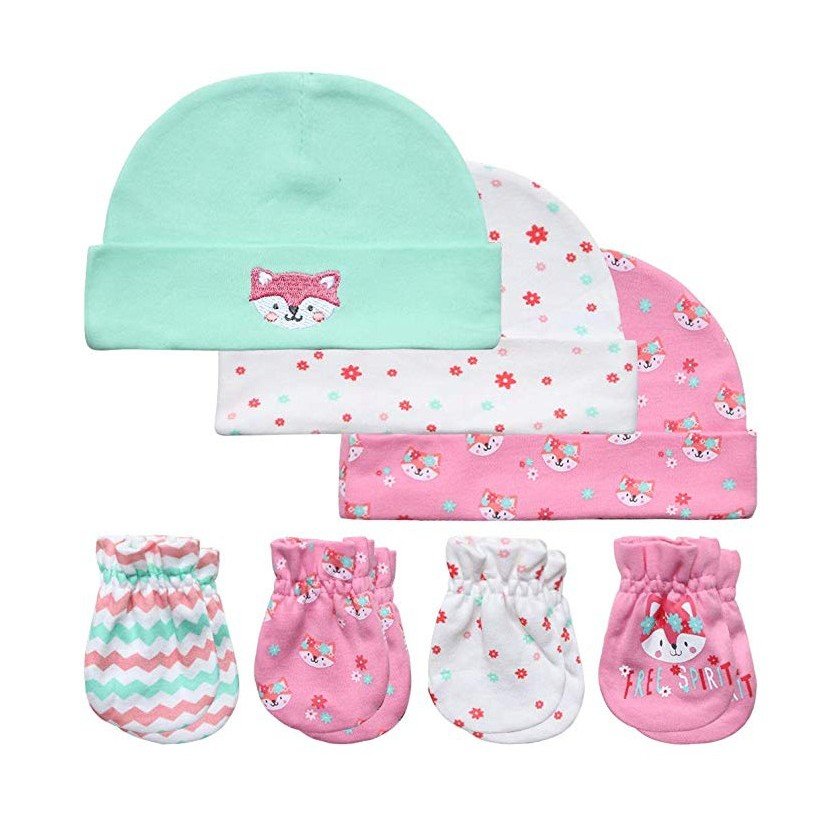 Newborn Baby Gift Set 7 Piece for 0-3 Months 100/% Cotton 2 Pcs Baby Cotton Caps Hats 2 Pairs Baby Socks 2 Pairs Baby Scratch Mittens Gloves 1 Pcs Baby Bibs