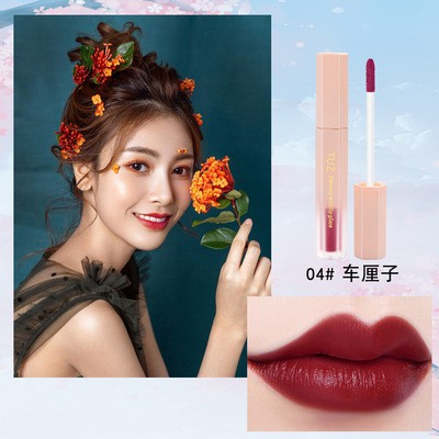 TUZ FLOWERY AIR VELVET LIP GLAZE LIPSTICK MATTE FINISHING MOISTURE WATERPROOF WATERY TEXTURE FOGGY EFFECT LAST LONG