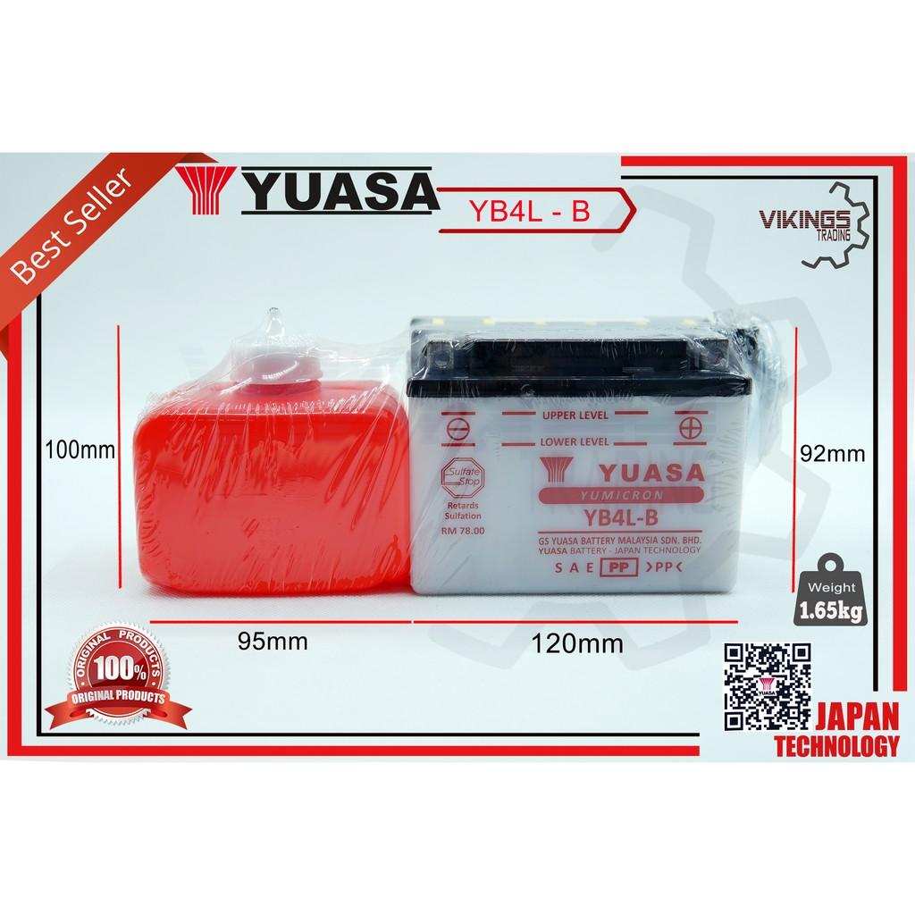 YB4 YB4L YB4L-BS ORIGINAL YUASA BATTERY EX5 DREAM CLASS  WAVE100 C50 SUZUKI RG80 KTM350