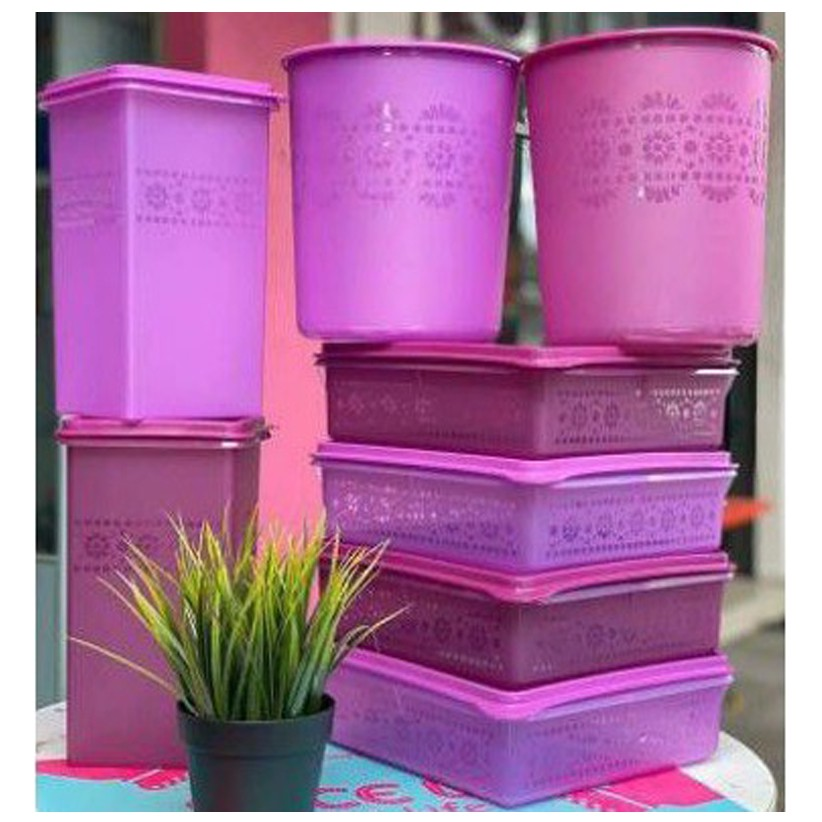 🔥Hot Deals🔥 Tupperware Mosaic Snack Stor 2.9L Mosaic Keeper 3.1L Mosaic One Touch Large Canister 4.0L - Purple Set