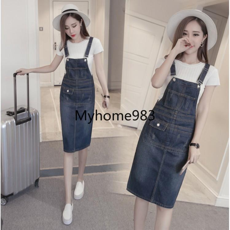 5e679068dc2ff Women's Korean-style Mid-length Denim Dress Summer Dresses Skirts S-5XL