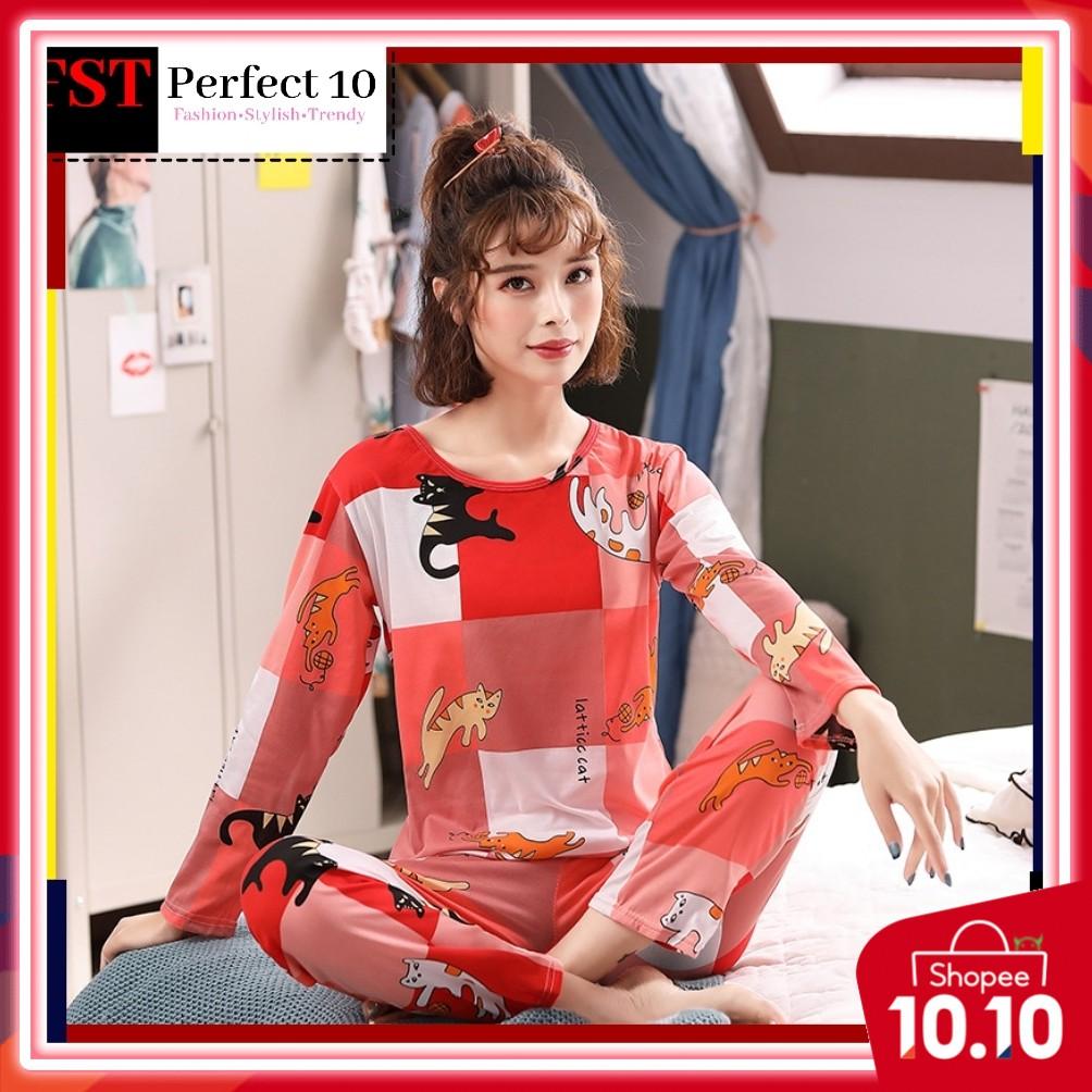 FST Silk Fabric Long Sleeve and Long Pant Red Cat Pyjamas / Set Baju Tidur Elegant design [6045]
