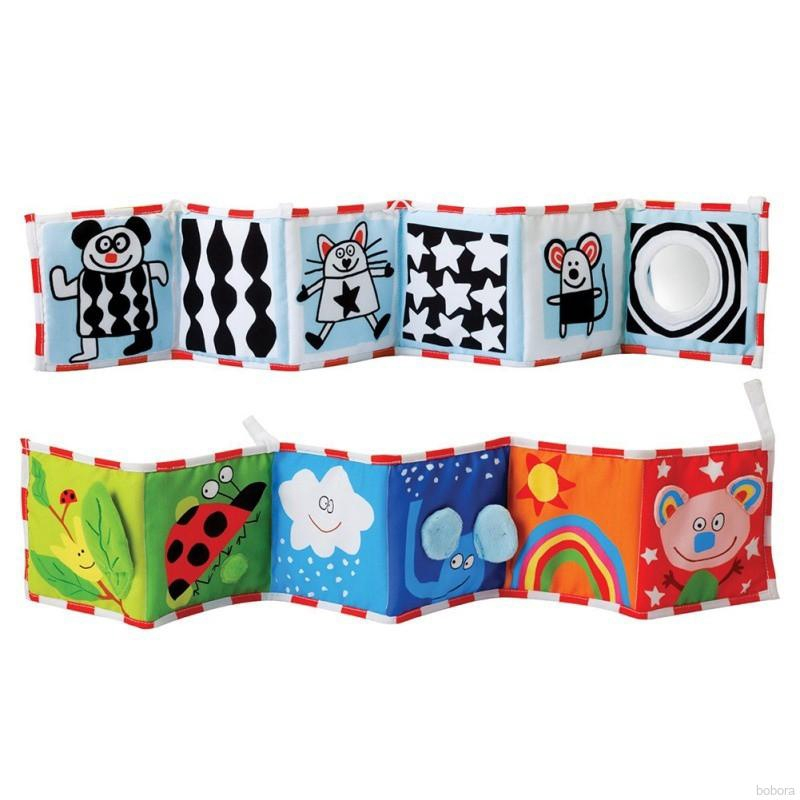 Baby Toys Crib Bumper Cloth Book Rattles Knowledge Touch Colorful Toys G