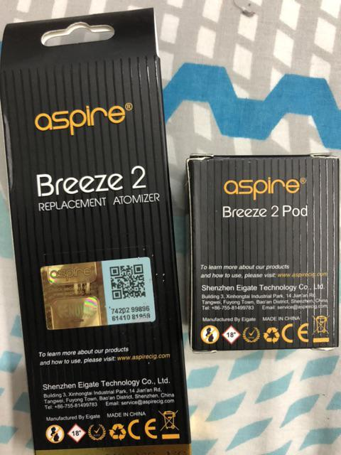 Original Aspire Breeze 2 Extra Replacement Pods with 0 6