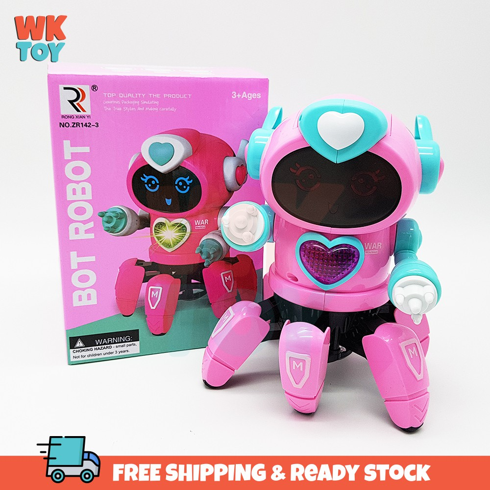 WKTOY Pink Robot BOT Pioneer Dancing Octopus LED Lights and Music Figure