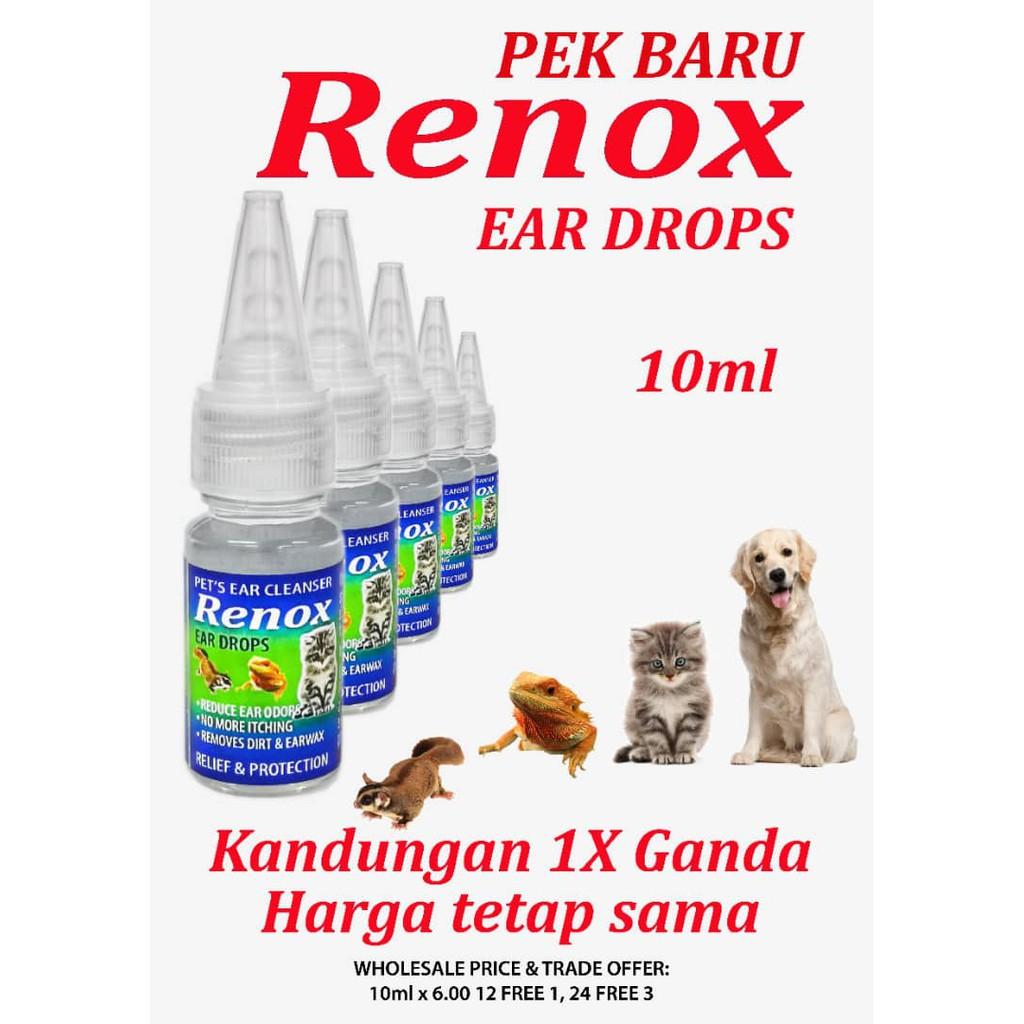 (NEW PACKING) RENOX Pet Ear Drop 10ml   Ubat Telinga Kucing Anjing   Ear Cleaning Healthcare for Cat & Dog
