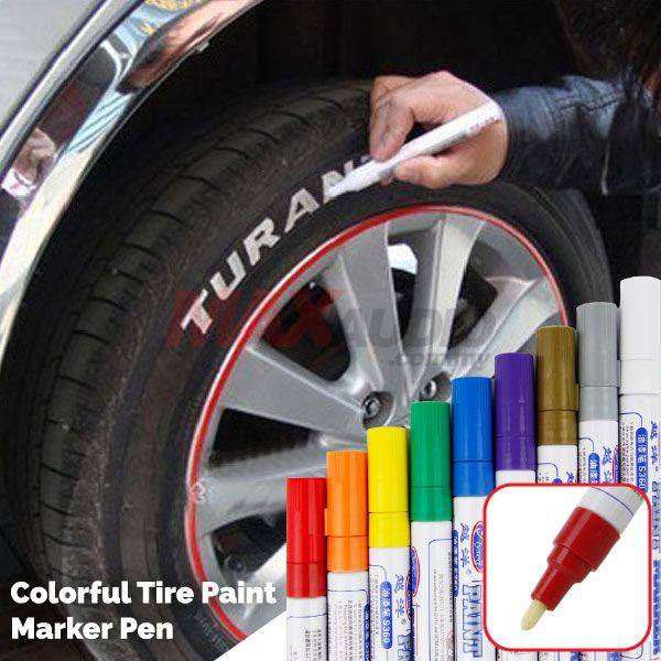 [FREE Gift] TIRE TYPE  WHEEL TREAD WORDING TOUCH UP PAINT PERMENANT MARKER PEN
