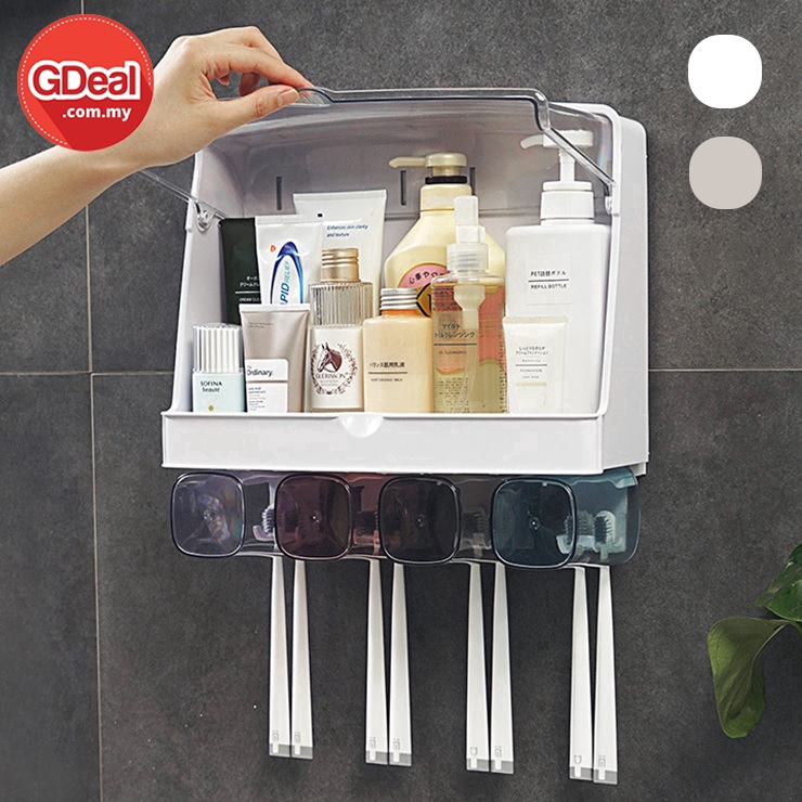 GDeal Large Toothbrush Rack Free Punching Mouthwash Holder Storage Set With Brush Cup