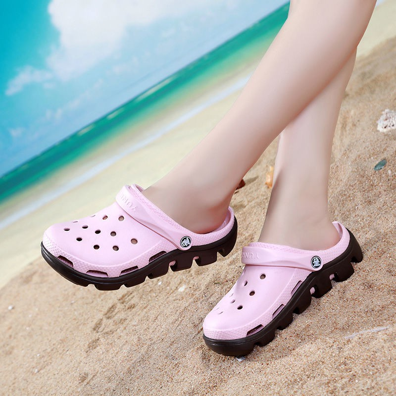 Spot fast hair] Yunke hole shoes women's beach shoes 2020 summer new Korean  sandals thick-soled non-slip large size thick-heeled beach shoes | Shopee  Malaysia