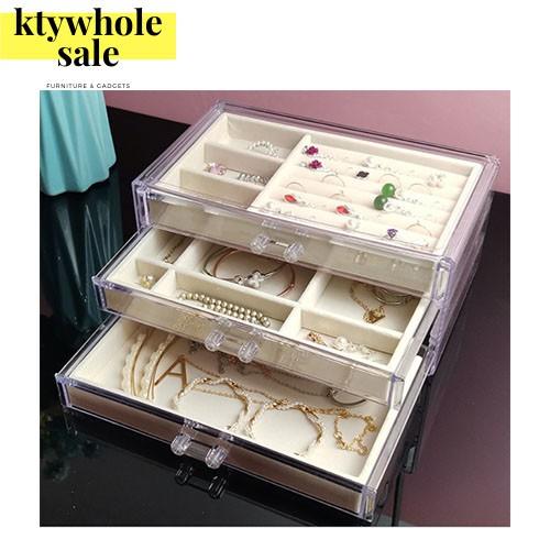 KTY Jewelry Storage Box Transparent 3 Drawers Velvet Jewellery Boxes Acrylic Ring Earring Necklace Bracelet Holder