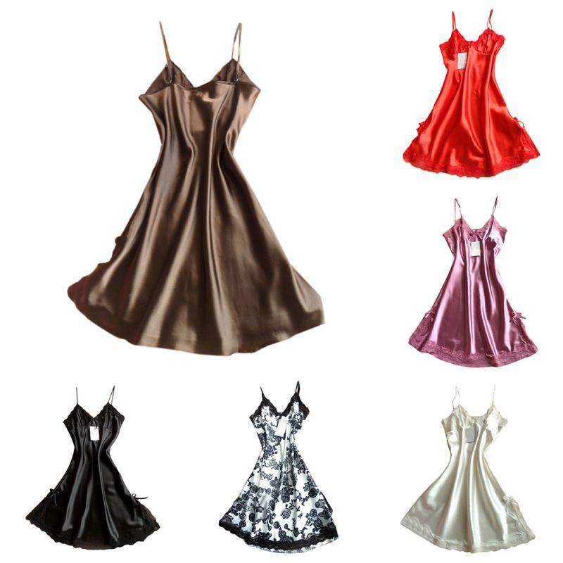 Women Silk Lace Sexy Robe Dress Babydoll Nightdress Nightgown Soft Sleepwear | Shopee Malaysia