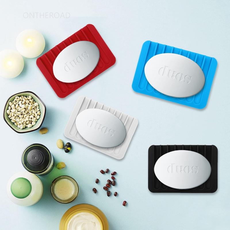 Flexible Bathroom Silicone Soap Dish Storage Drainer Holder Drain Box Soap Saver