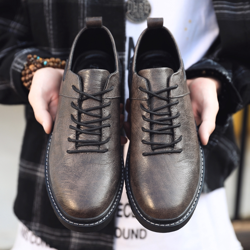 Ready Stock Spring New Men's Low-cut Lace-up Shoes Trend Fashion