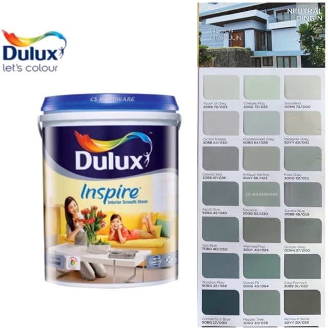 5 Litre ICI DULUX Inspire Interior Smooth Sheen Paints (GREY)