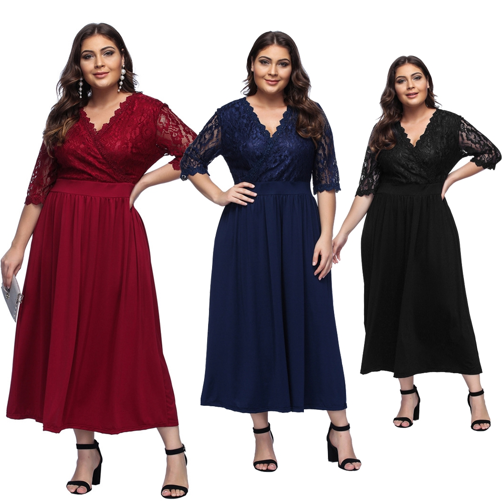 697447ed85510 A Line High Waist Half Sleeve Soft V Neck Plus Size Maxi Party Women Dress