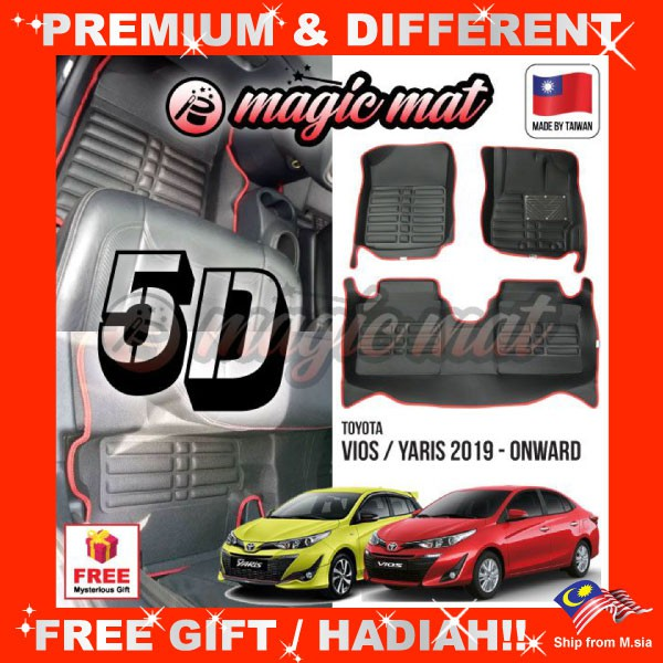 [FREE GIFT Gift] TOYOTA VIOS / YARIS 2019 - Onward (5 Seater) MAGIC MAT 5D OEM PU Leather Floor Mat Easy Clean Carpe