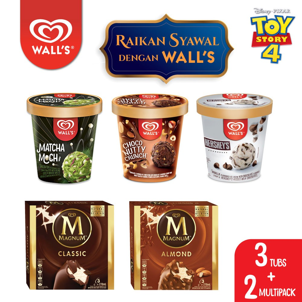Wall's & Magnum Ice Cream Raya Pack with ToyStory 4 Cooler Bag (3 Tubs + 2 Multi Packs)
