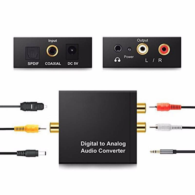 Digital to Analog Audio Converter Coaxial Optical Cable Port to RCA RC 3.5mm Aux Audio Jack Cable Decoder Stereo Amplifi