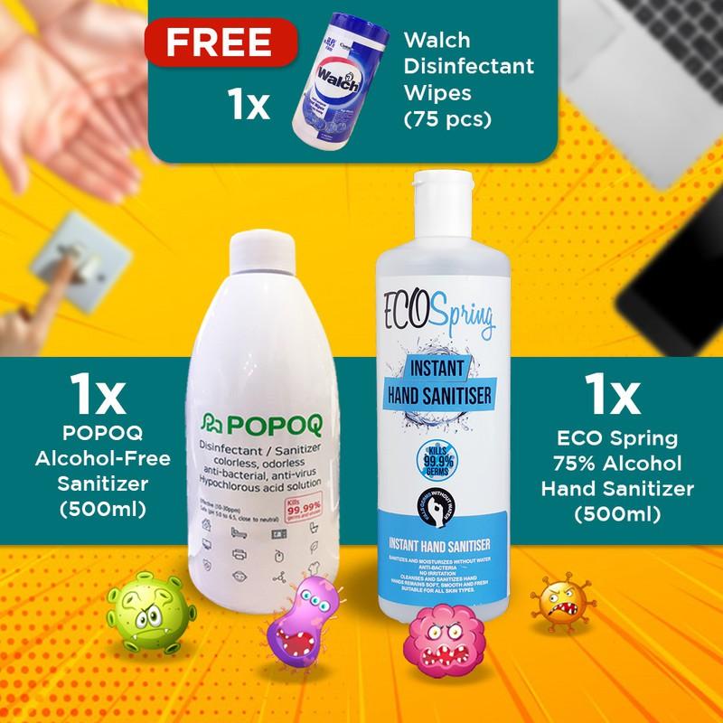 【Korea Popoq Non-Skin Irritant Spray】1x HOCL, 1x 500mL Handwash, Walch Wet Wipes